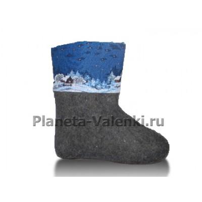 Обувь валяная домашняя Уют с отделкой гобелен (серые)