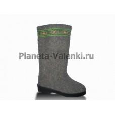 Обувь валяная на резиновой подошве Вьюга с отделкой (серые)