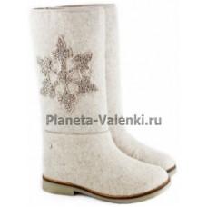 Валенки белые с узором «Снежинка »